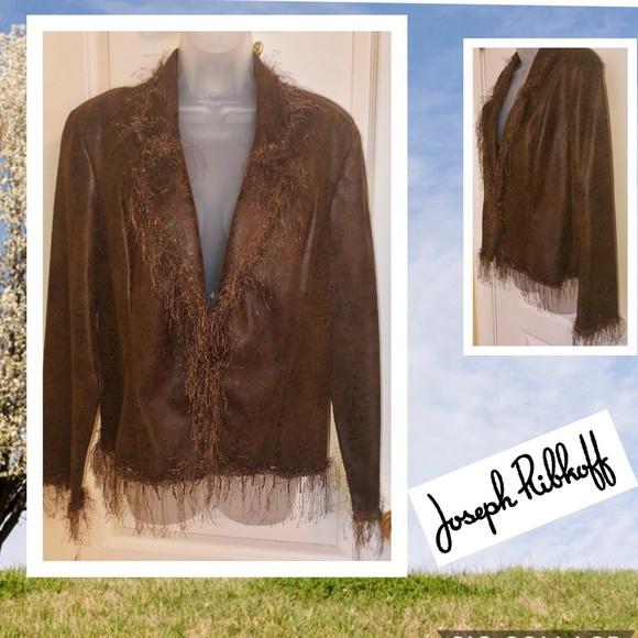 Joseph Ribkoff Jackets & Blazers - Brown Jacket JOSEPH RIBKOFF  Leatherette Bead Trim